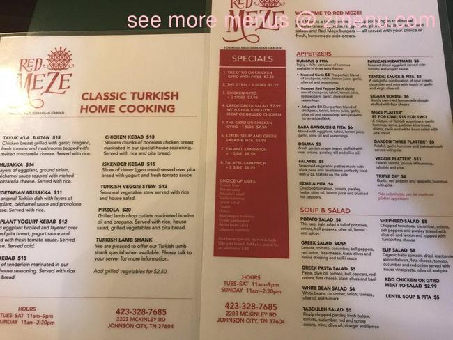 Online Menu of Red Meze Restaurant, Johnson City ...