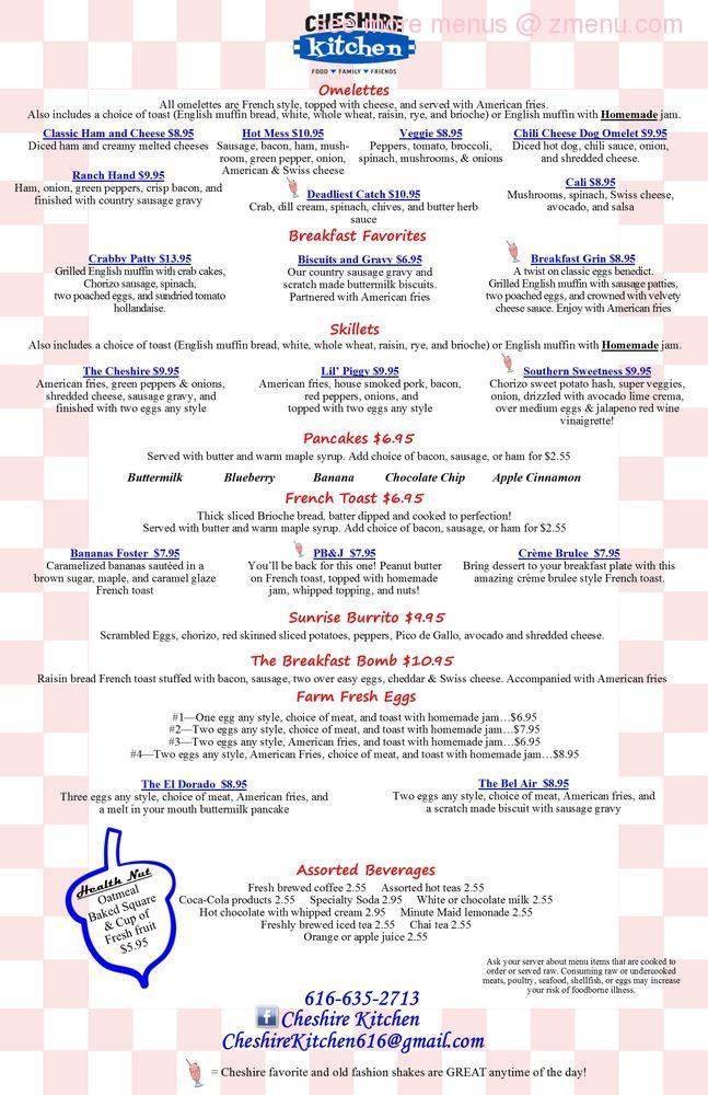 Online Menu of Cheshire Kitchen Restaurant, Grand Rapids, Michigan ...
