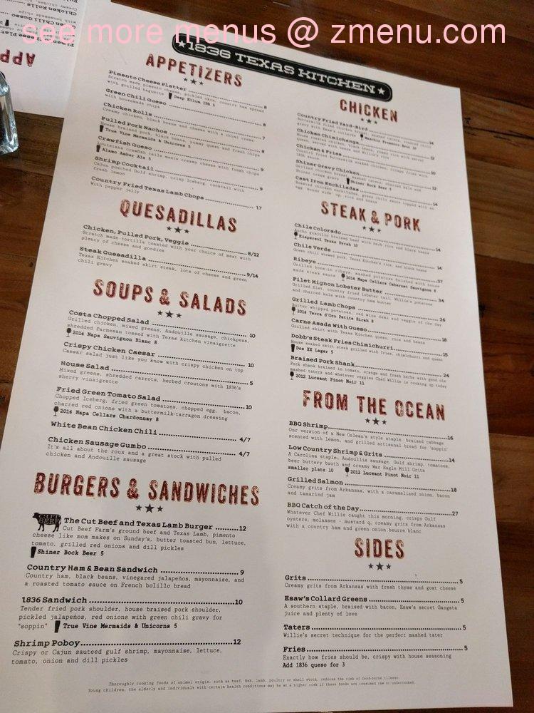 Online Menu of 1836 Texas Kitchen Restaurant, Tyler, Texas, 75703 ...