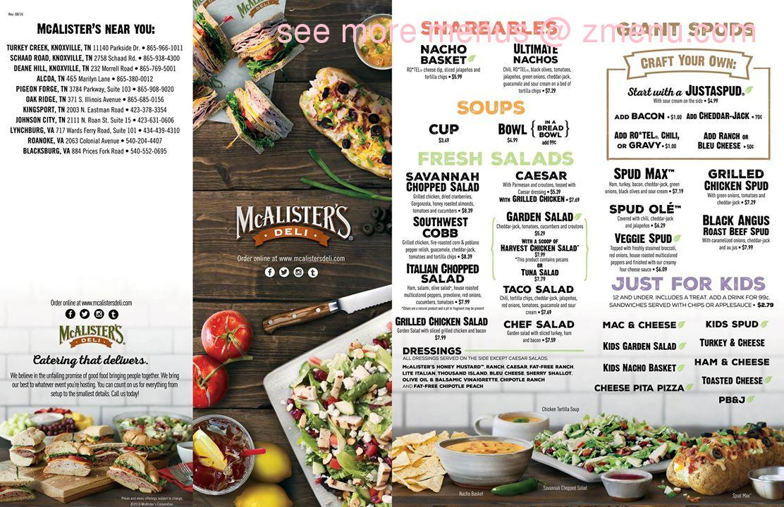This is a graphic of Clever Mcalisters Deli Printable Menu