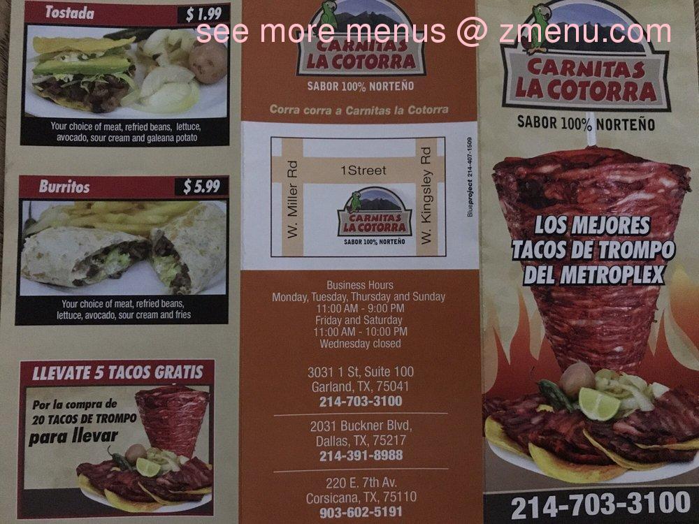 Online Menu Of Carnitas La Cotorra Restaurant Garland Texas 75041