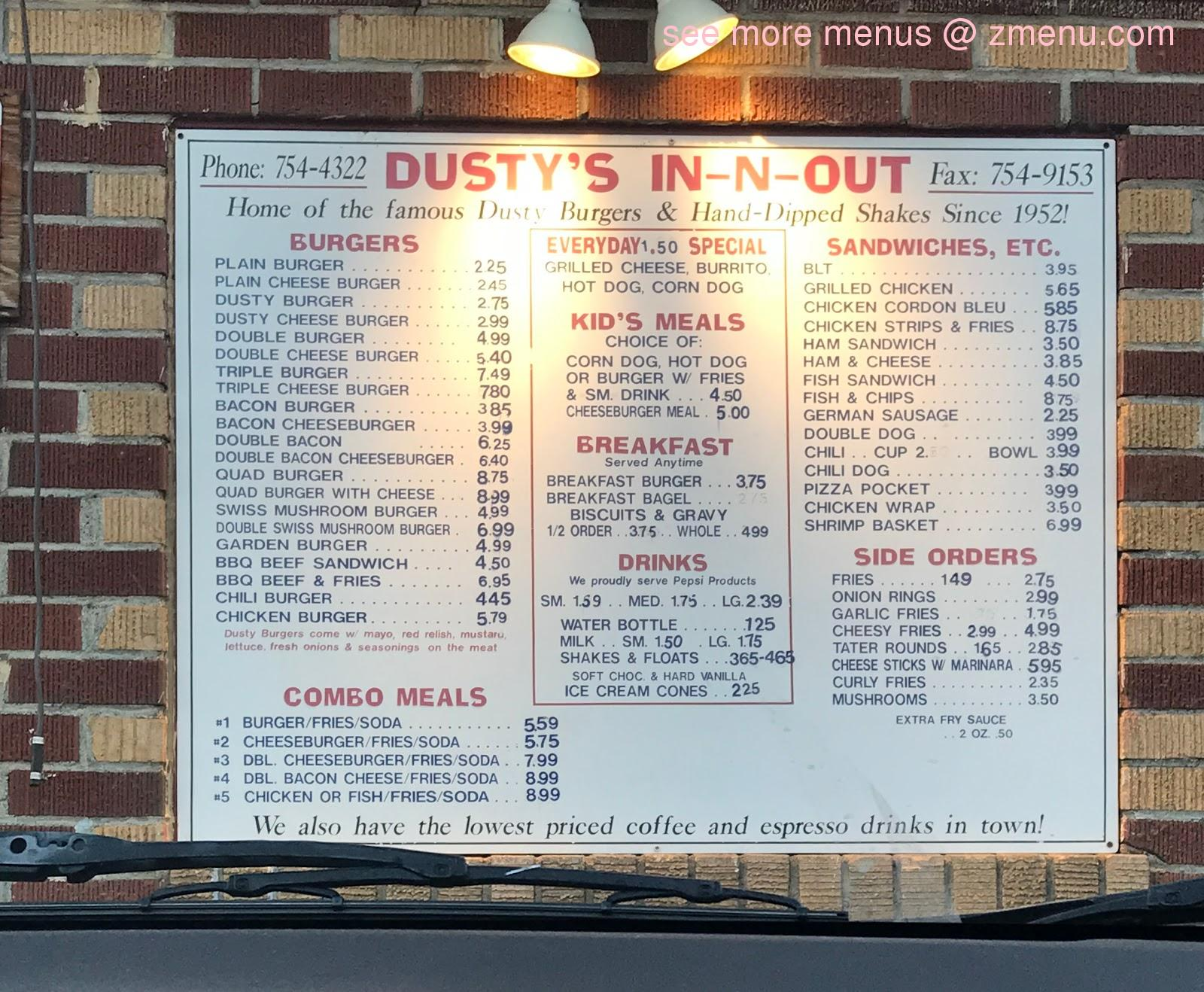 Online Menu of Dustys In-N-Out Restaurant, Ephrata