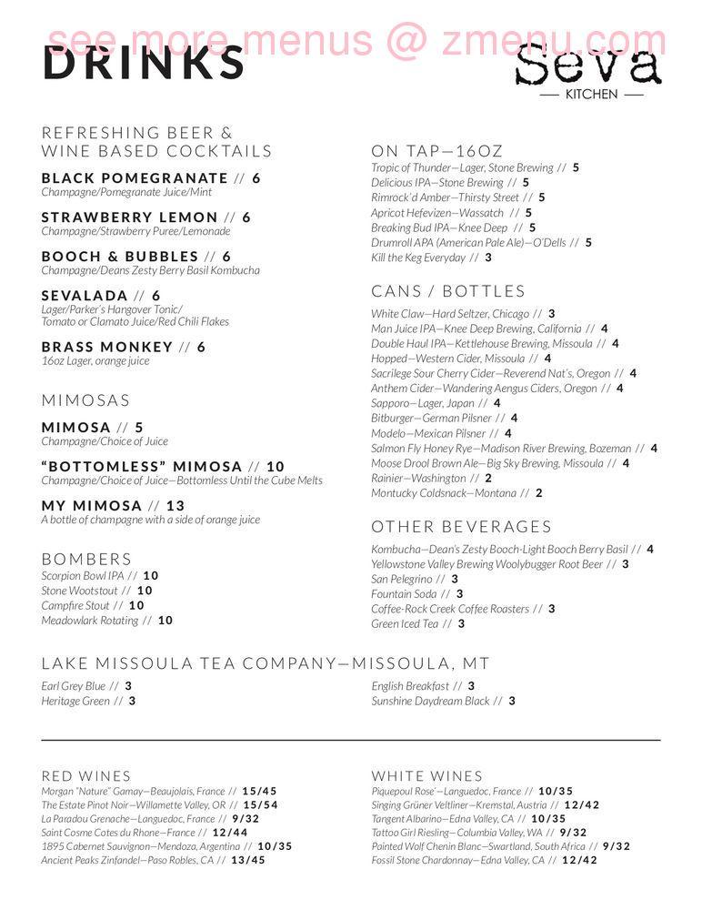 Online Menu Of Seva Kitchen Restaurant Billings Montana