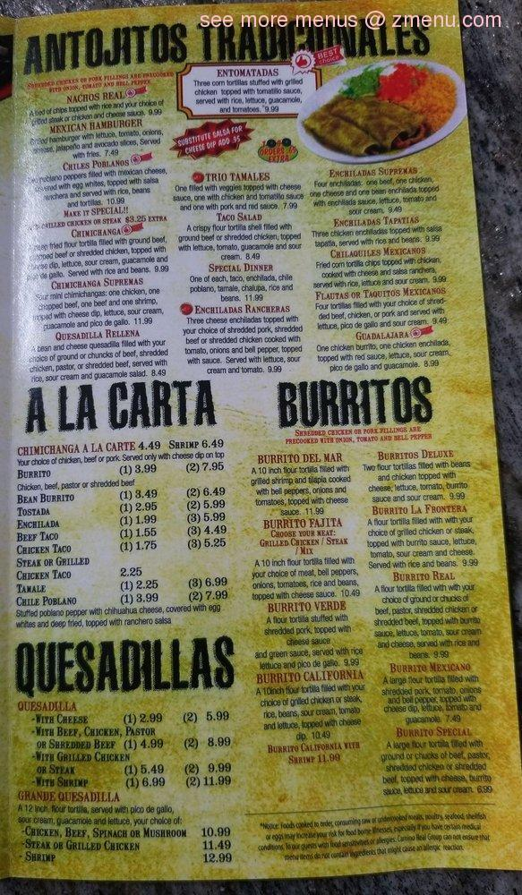 Online Menu Of Cocina Real Restaurant Columbia Tennessee 38401