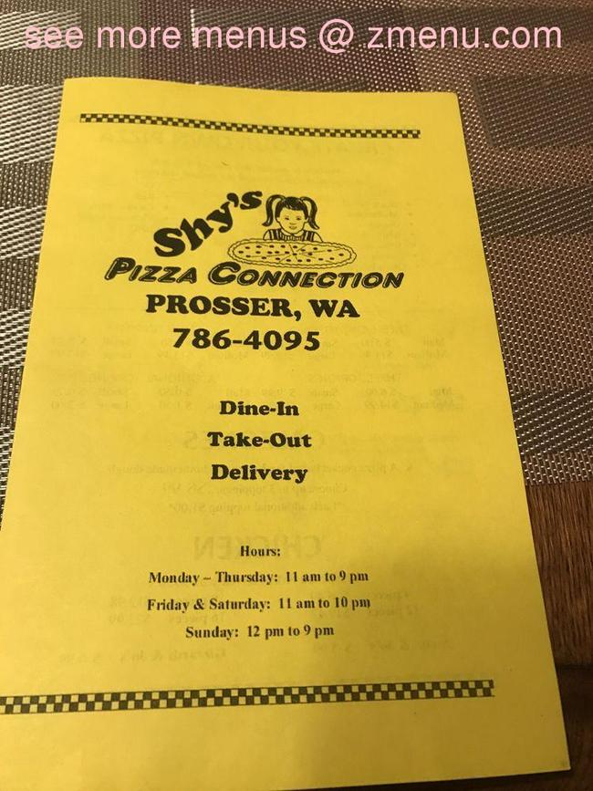 Online Menu Of Shy S Pizza Connection Restaurant Prosser