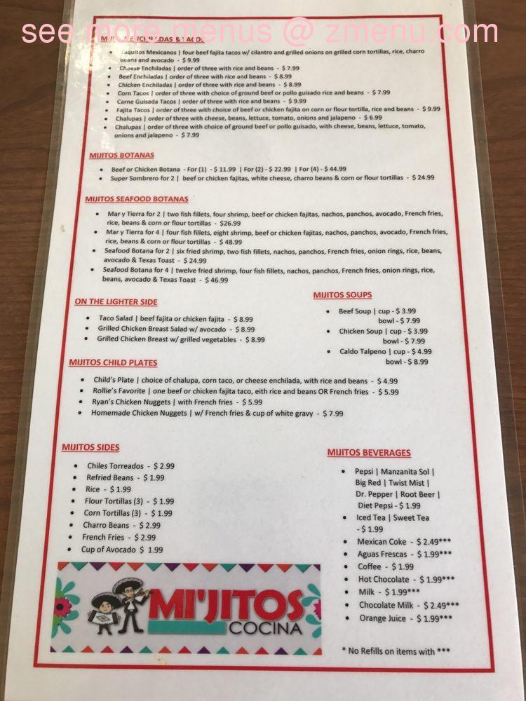 Mi cocina menu prices