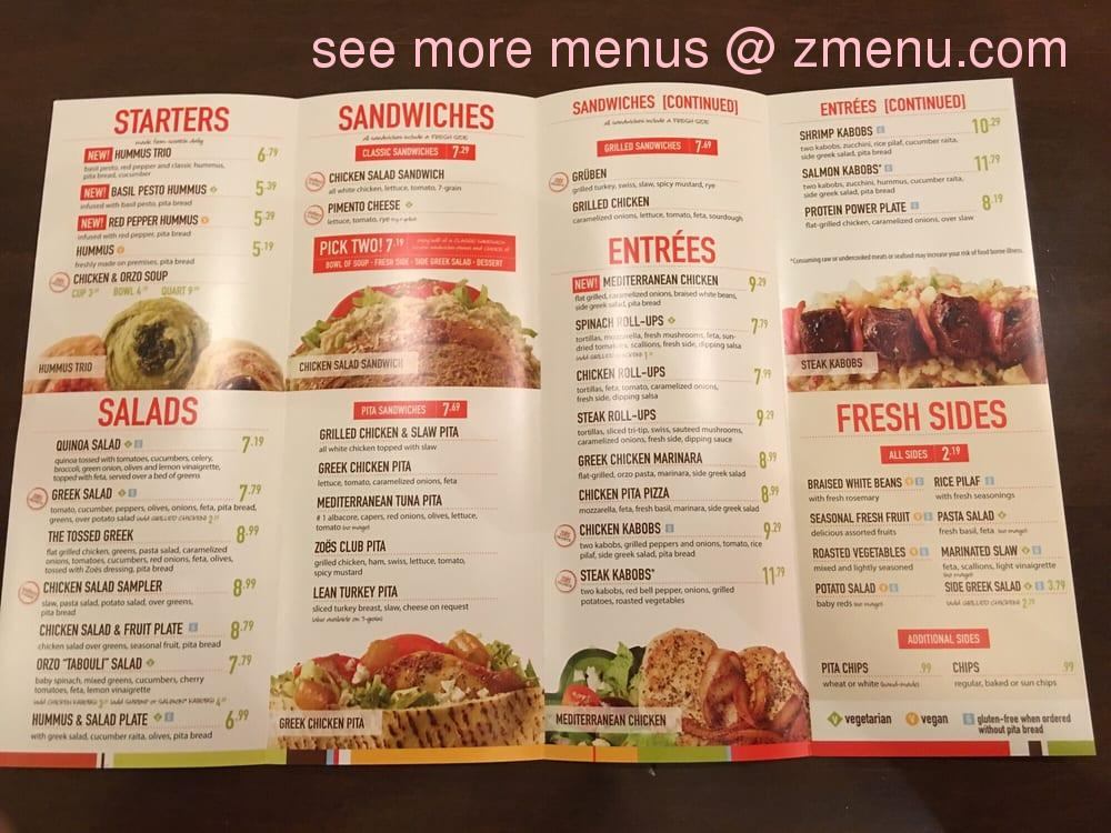 Zoes Kitchen Baton Rouge Menu
