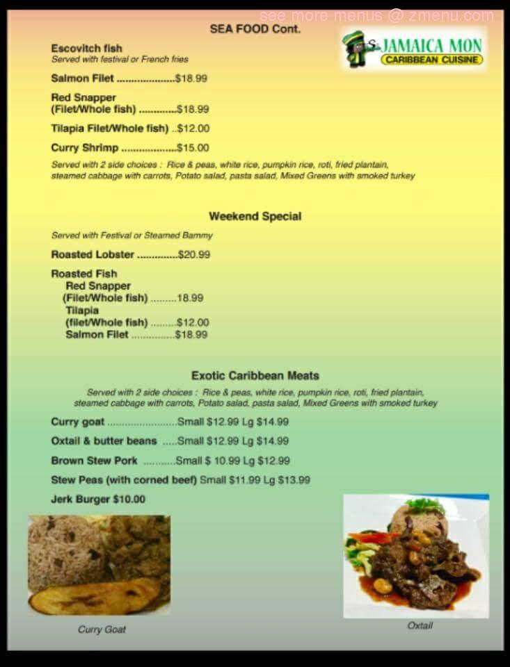 online menu of jamaica mon restaurant fairfield ohio