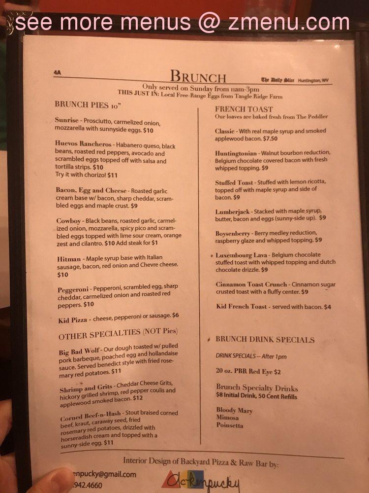 Online Menu of Backyard Pizza and Raw Bar Restaurant ...