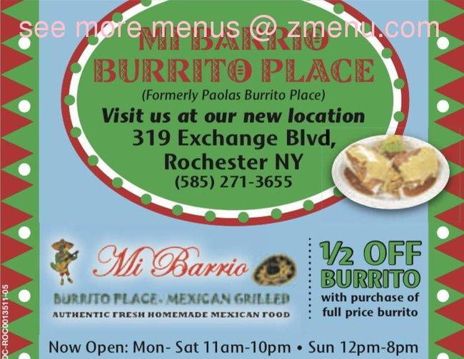 Online Menu Of Mi Barrio Burrito Place Restaurant Rochester