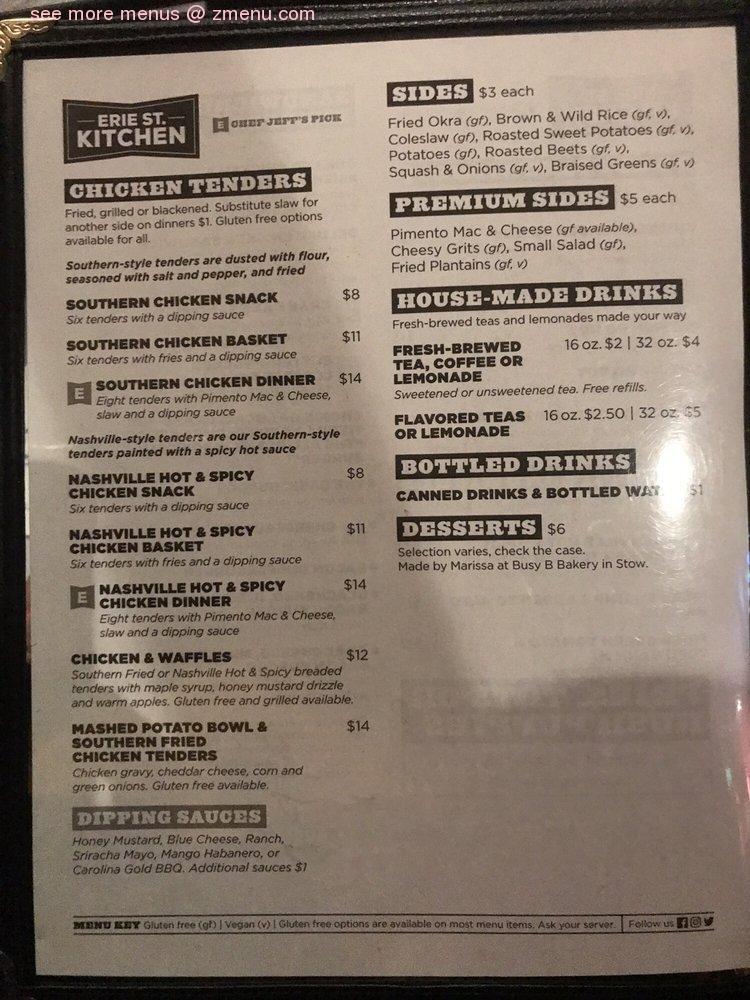 Online Menu Of Erie Street Kitchen Restaurant Kent Ohio 44240 Zmenu
