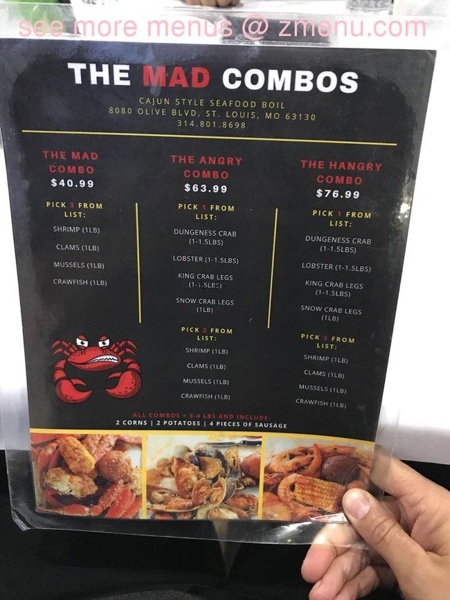 online menu of the mad crab restaurant  university city