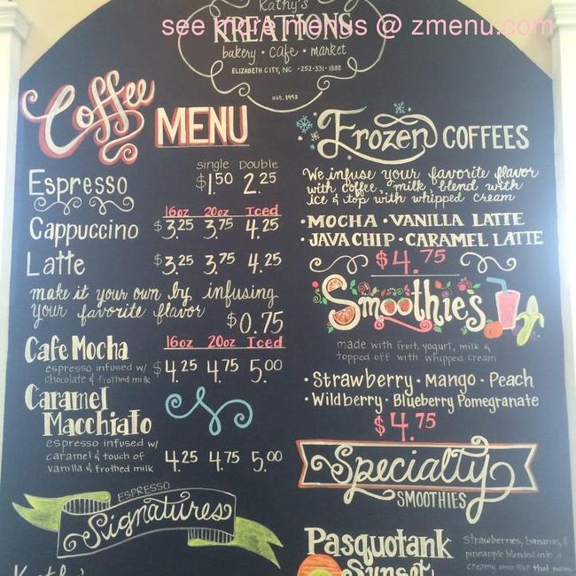 Online Menu of Kathys Kreations Restaurant, Elizabeth City ...