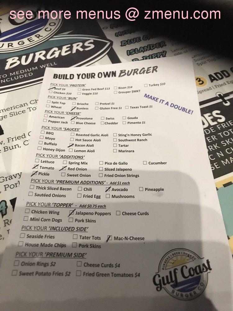 Online Menu of Gulf Coast Burger Restaurant, Panama City