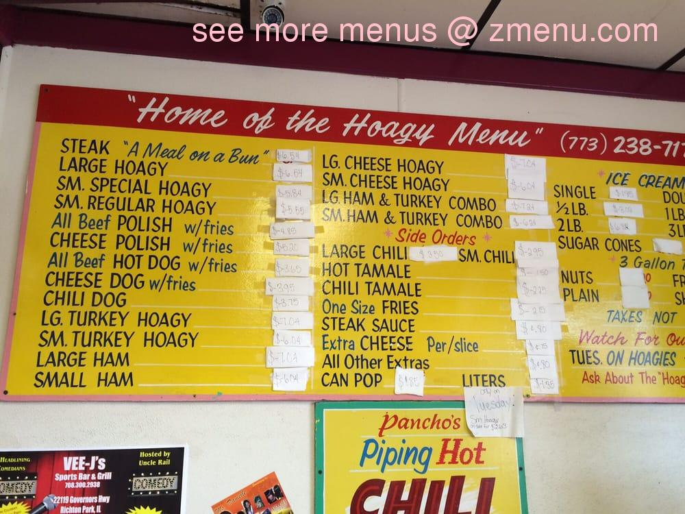 Online menu of home of the hoagy restaurant chicago for Jj fish menu