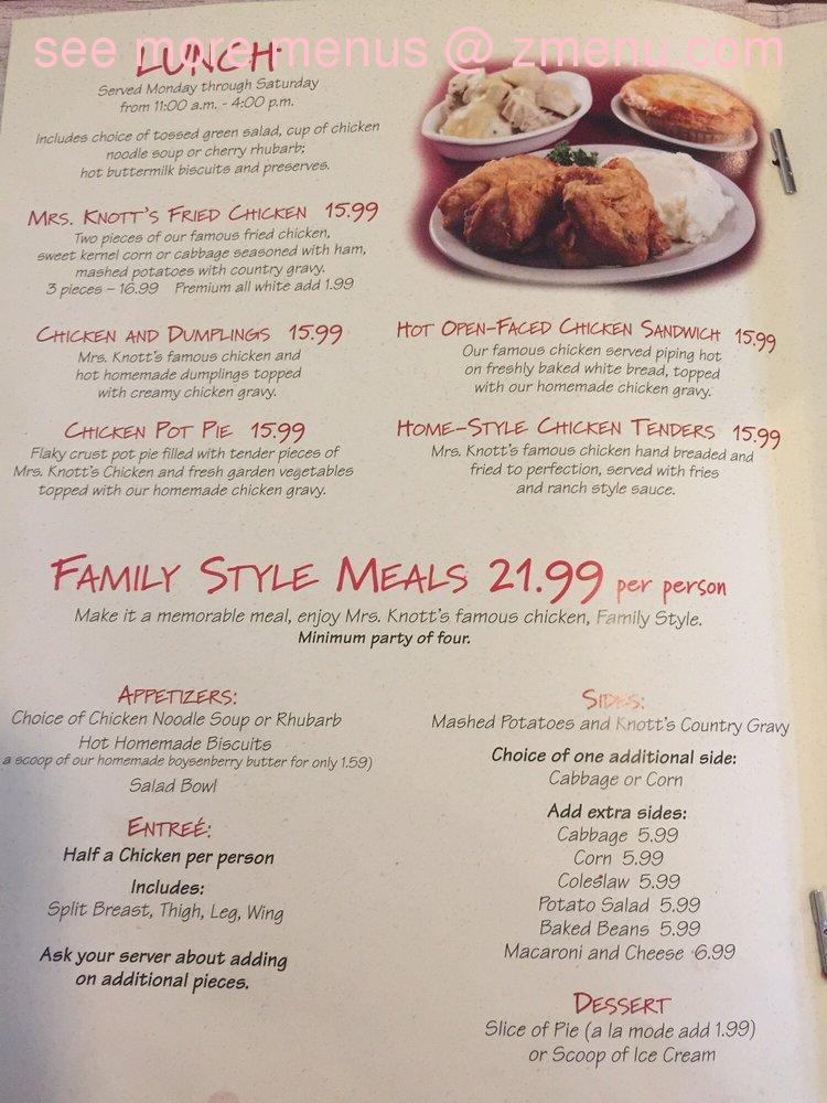 Knotts Berry Farm Chicken Restaurant Menu