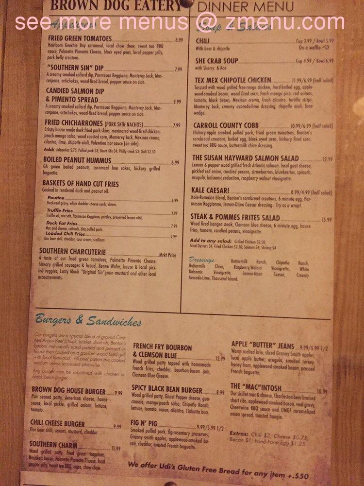 brown dog deli menu