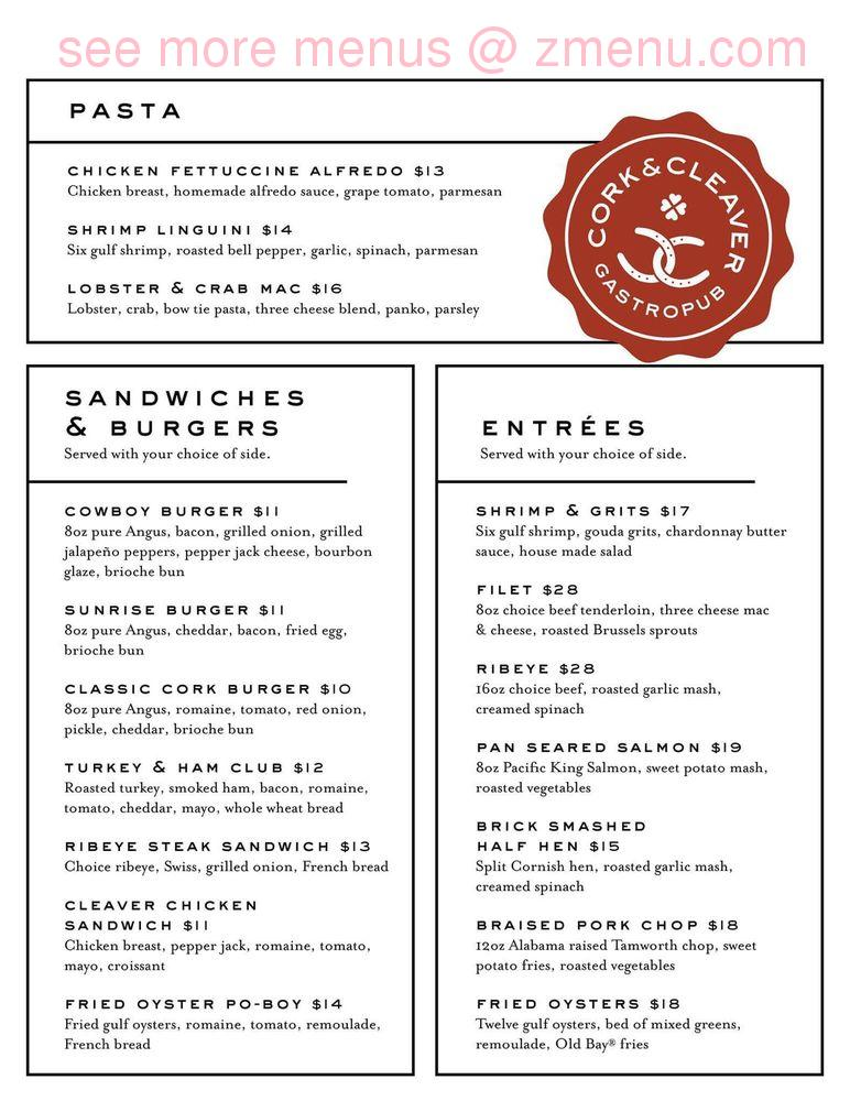 Online Menu Of Cork Amp Cleaver Restaurant Montgomery