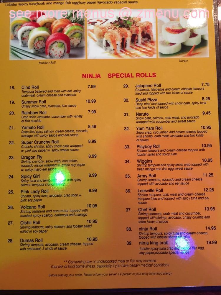 Online Menu Of Ninja Sushi Steak House Restaurant Garden City Kansas 67846 Zmenu