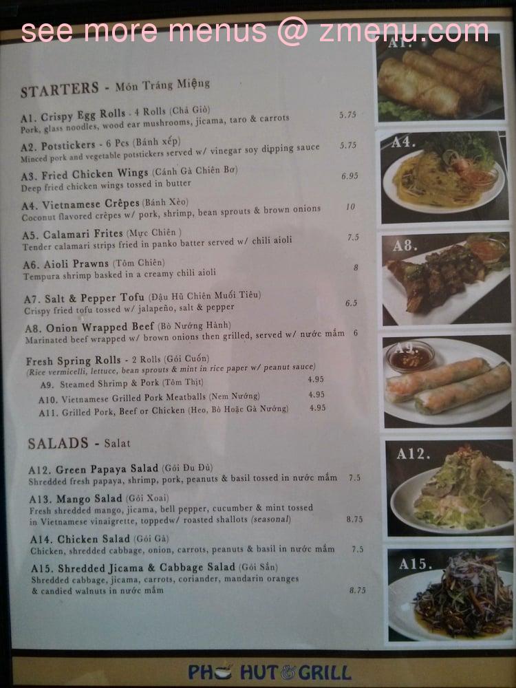 Online Menu Of Pho Hut Grill Restaurant San Diego California