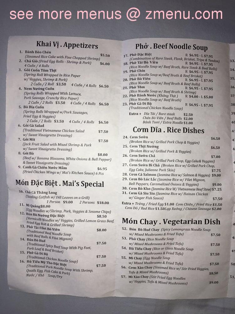 Online Menu Of Mais Kitchen Restaurant Westminster California 92683 Zmenu