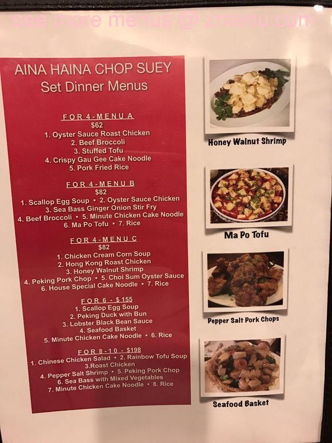 online menu of aina haina chop suey restaurant honolulu