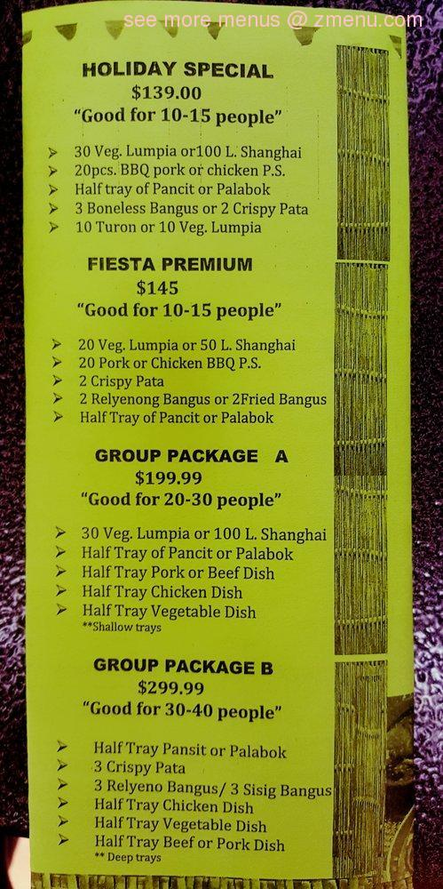 Online Menu Of Fiesta Filipina Cuisine Restaurant Las Vegas