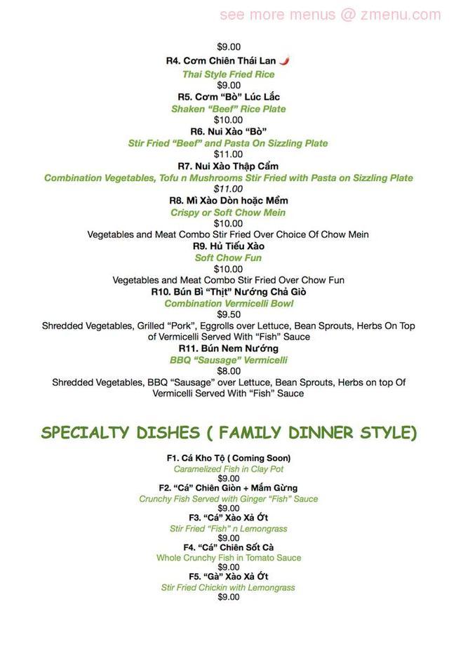 Online Menu Of Green Lotus Restaurant San Jose California 95122 Zmenu