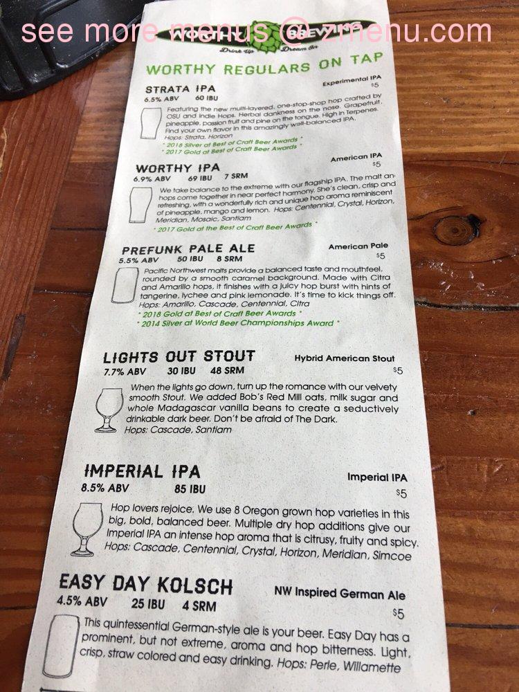 Online Menu of Worthy Brewing Restaurant, Bend, Oregon, 97701 - Zmenu