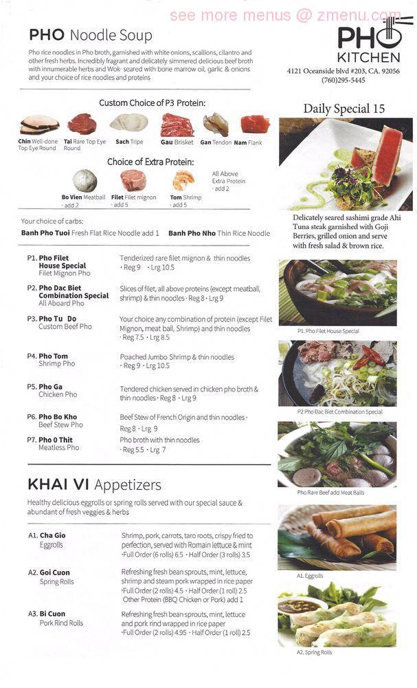 note the menu prices may subject to change - Pho Kitchen