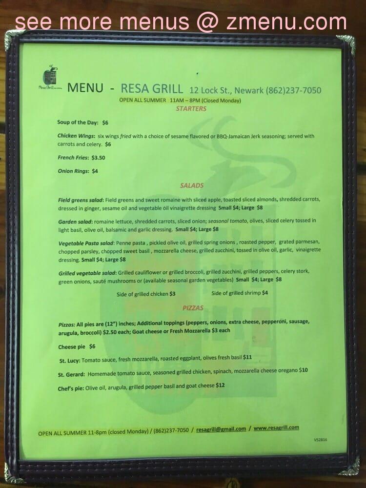 Online Menu of Resa Grill Restaurant, Newark, New Jersey, 07103 - Zmenu