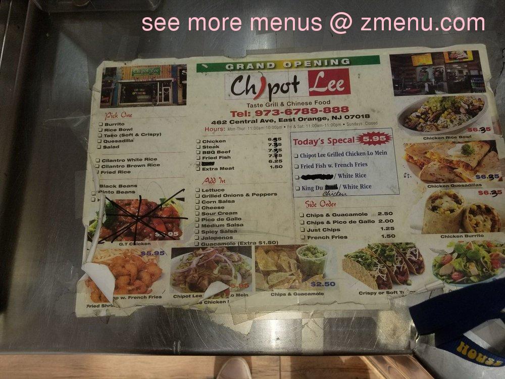 Online Menu Of Chipot Lee Pizza Restaurant East Orange New Jersey 07018 Zmenu