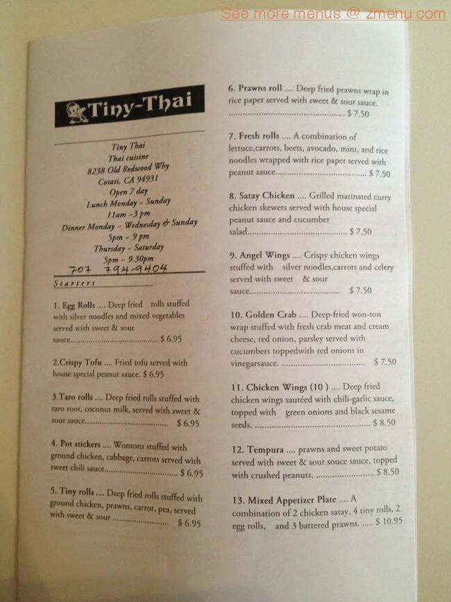 Online Menu Of Tiny Thai Restaurant Cotati California