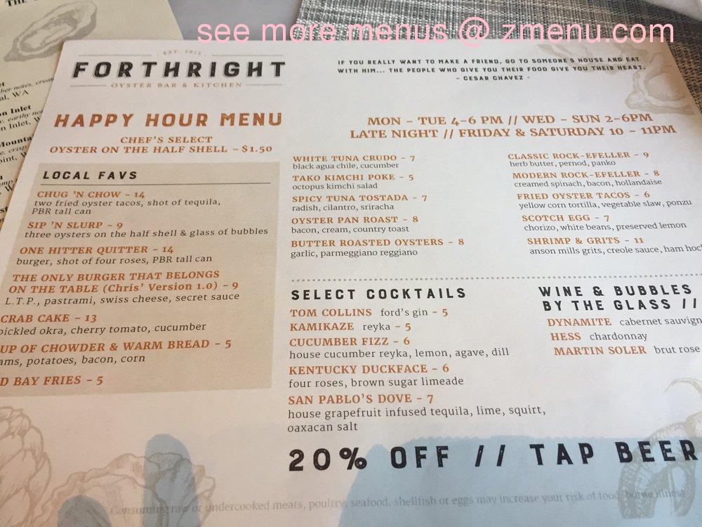 Online Menu of Forthright Oyster Bar & Kitchen Restaurant, Campbell ...