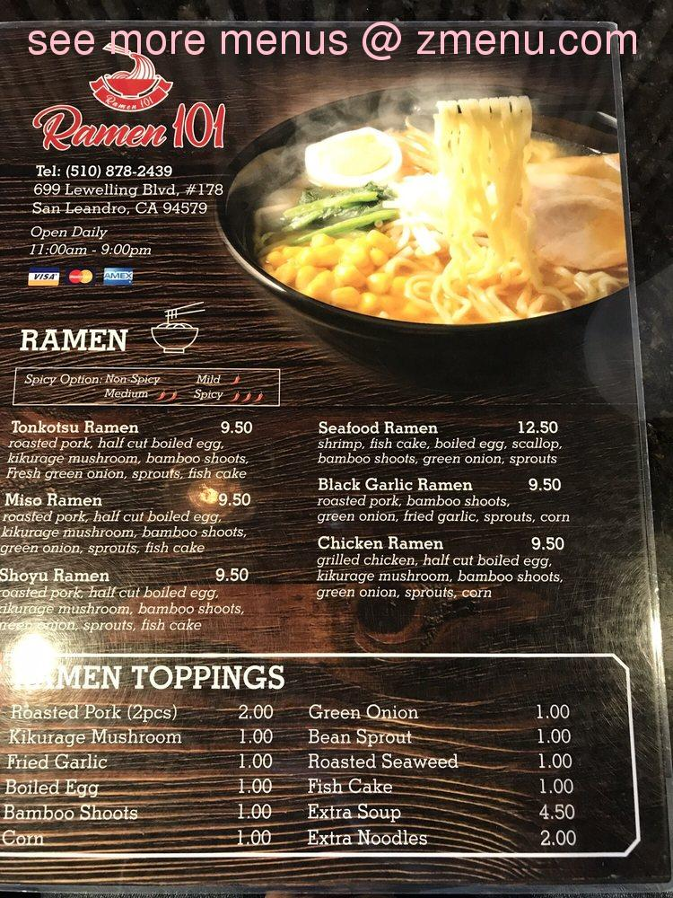 Online Menu of Ramen101 Restaurant, San Leandro, California, 94579 ...