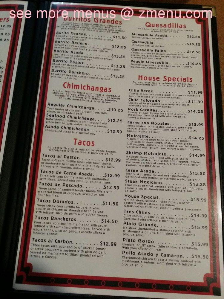 Online Menu Of El Guayacan Mexican Restaurant Restaurant Chico