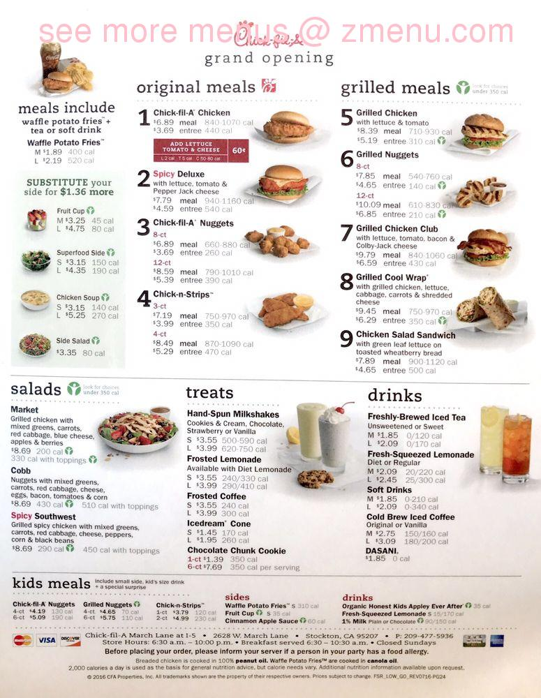 graphic relating to Chickfila Printable Menu named On the net Menu of Chick-fil-A Cafe, Stockton, California