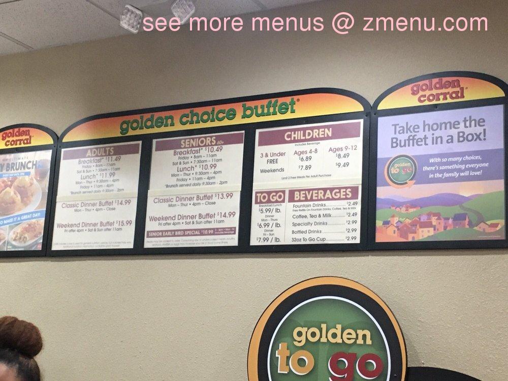 Online Menu of Golden Corral Restaurant, El Cajon ...