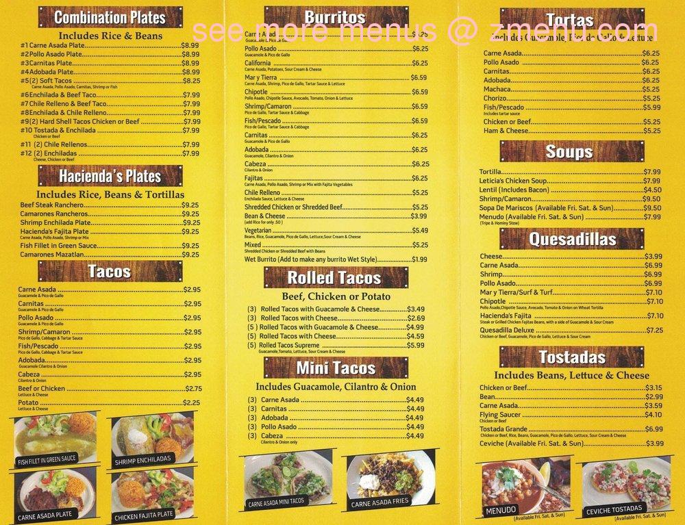 Menu At Hacienda S Mexican Food Restaurant El Cajon