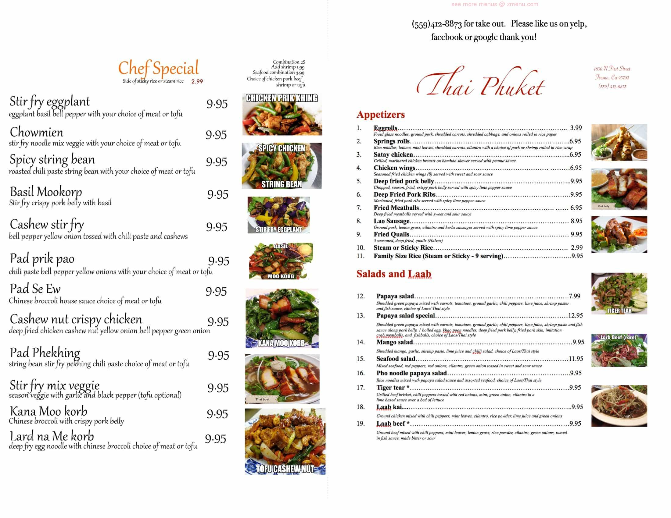 Online Menu of Thai Phuket Restaurant Restaurant, Fresno, California, 93703  - Zmenu