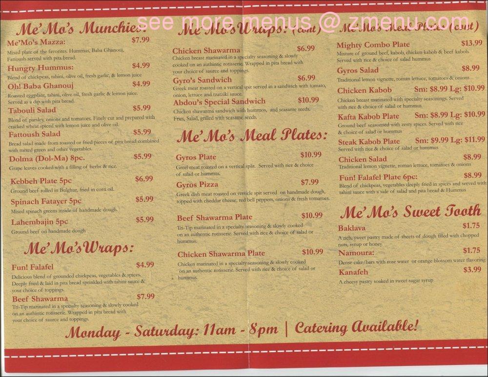 online menu of me mo s middle eastern cuisine restaurant modesto