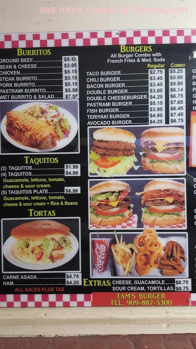 Tams Near Me >> Online Menu Of Tams Burger Restaurant San Bernardino