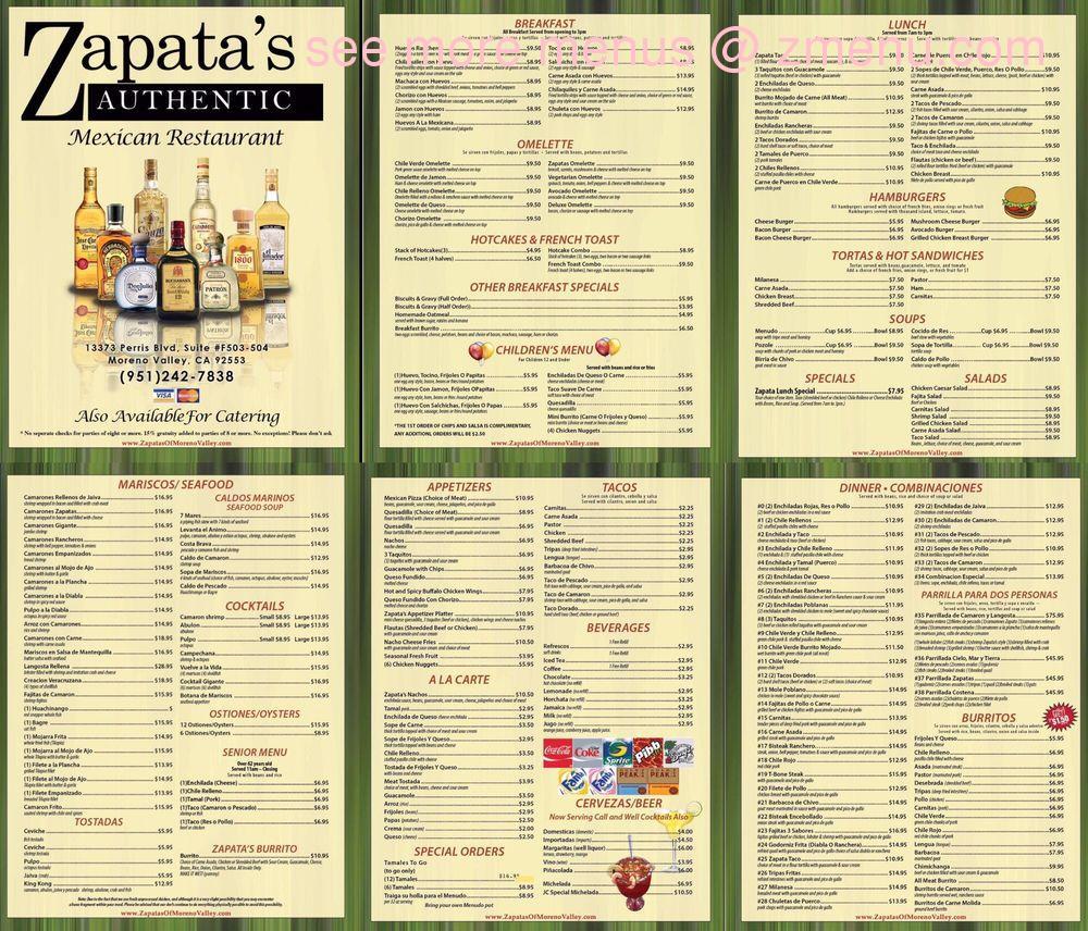 Online Menu Of Zapatas Mexican Restaurant Restaurant Moreno Valley