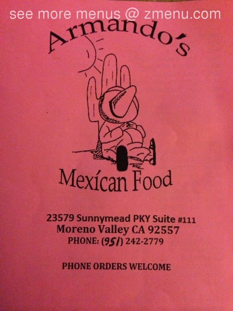 Online Menu Of Armandos Mexican Food Restaurant Moreno Valley