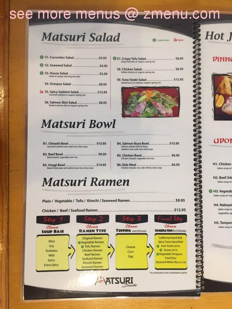 Matsuri Japanese Restaurant Menu