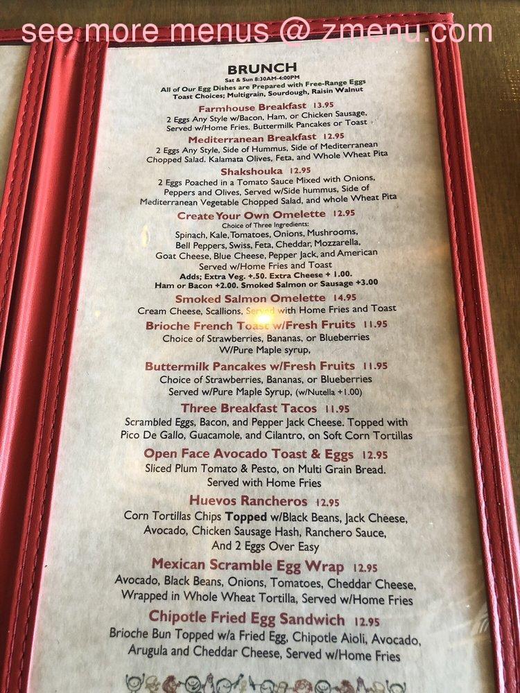 Online Menu Of Farmhouse Cafe Eatery Restaurant Westwood New Jersey 07675 Zmenu