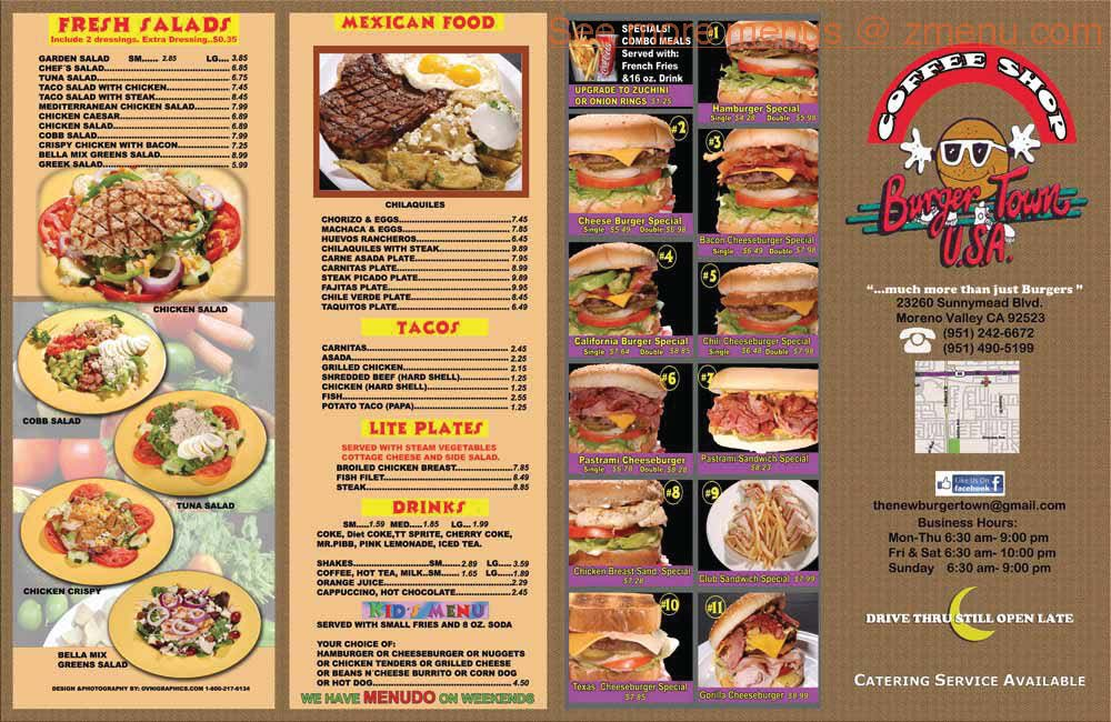 Valley Diner Restaurant Menu