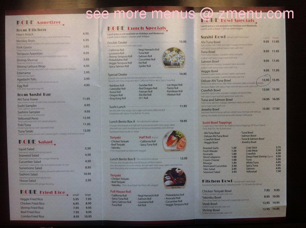 Online Menu Of Kobe Sushi  Grill Restaurant, Bentonville-2118