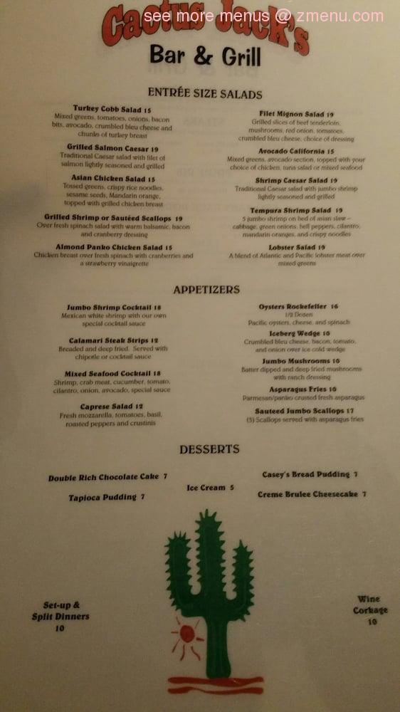 Online Menu Of Cactus Jack S Restaurant Palm Desert