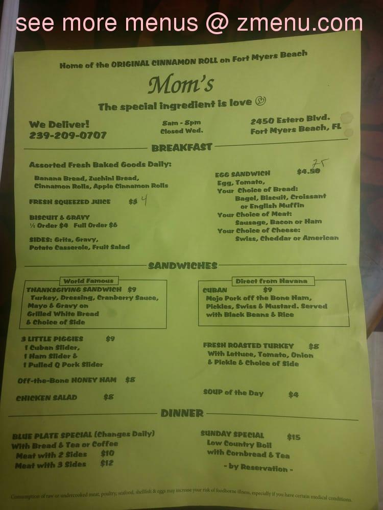 Online Menu of Moms Restaurant, Fort Myers Beach, Florida